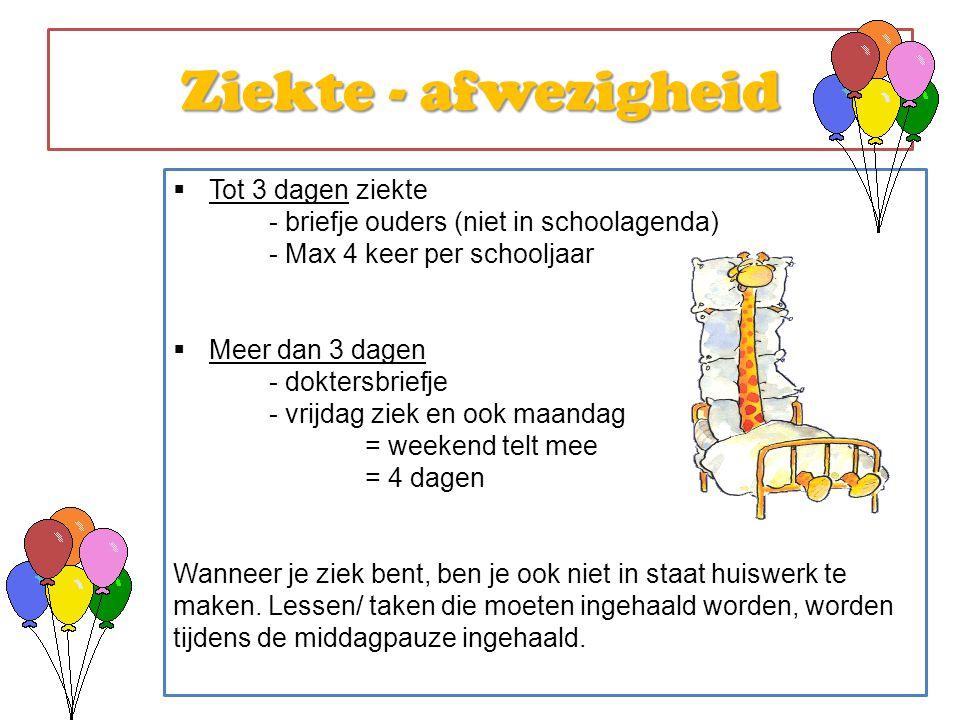  Tot 3 dagen ziekte - briefje ouders (niet in schoolagenda) - Max 4 keer per schooljaar  Meer dan 3 dagen - doktersbriefje - vrijdag ziek en ook maa