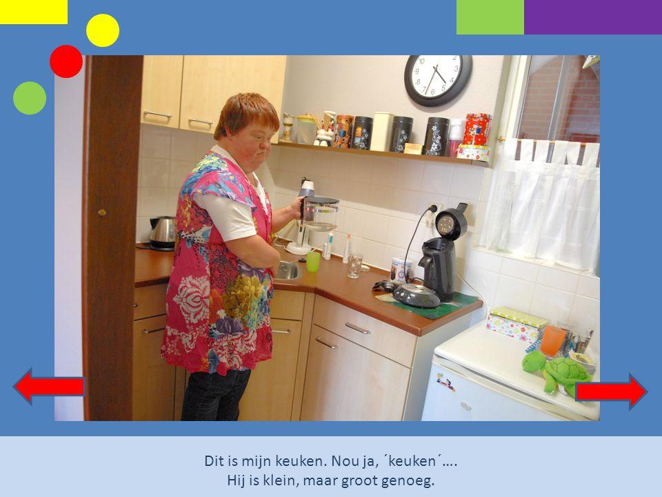 Dit is mijn keuken. Nou ja, ´keuken´…. Hij is klein, maar groot genoeg.