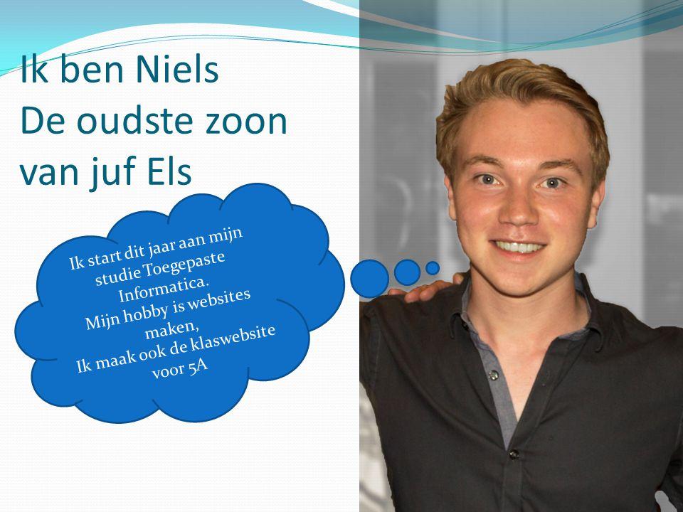 Ik ben Niels De oudste zoon van juf Els Ik start dit jaar aan mijn studie Toegepaste Informatica. Mijn hobby is websites maken, Ik maak ook de klasweb