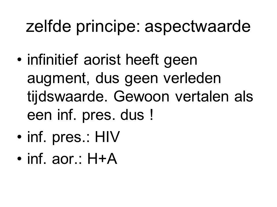 zelfde principe: aspectwaarde infinitief aorist heeft geen augment, dus geen verleden tijdswaarde. Gewoon vertalen als een inf. pres. dus ! inf. pres.