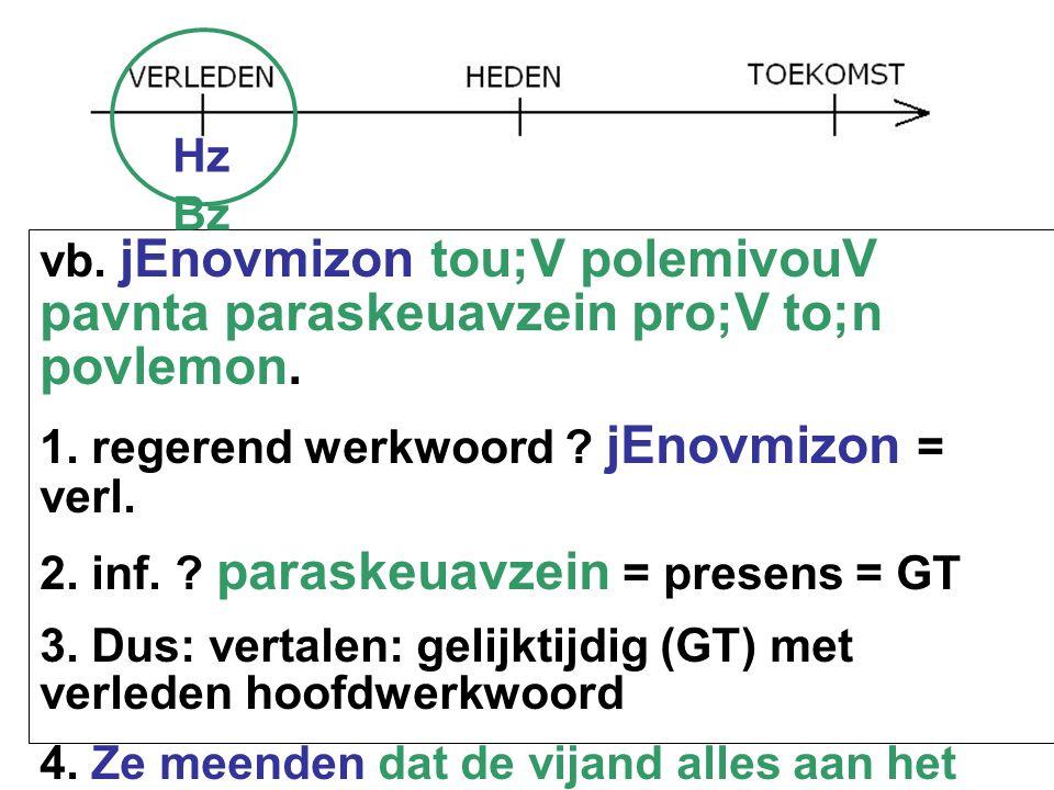 vb. jEnovmizon tou;V polemivouV pavnta paraskeuavzein pro;V to;n povlemon. 1. regerend werkwoord ? jEnovmizon = verl. 2. inf. ? paraskeuavzein = prese