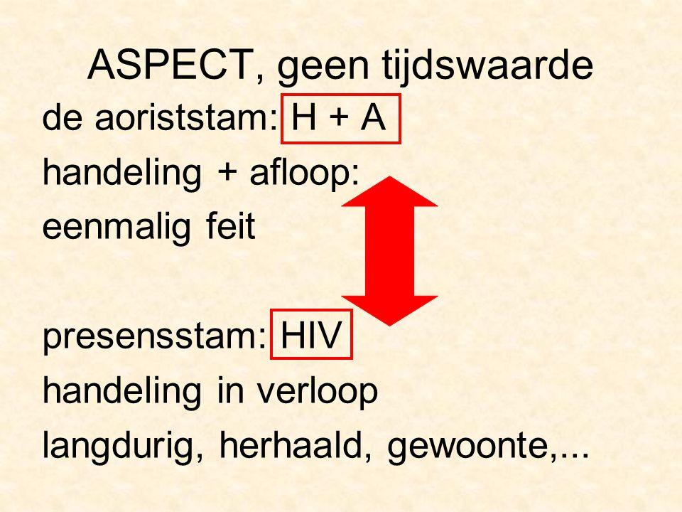 ASPECT, geen tijdswaarde de aoriststam: H + A handeling + afloop: eenmalig feit presensstam: HIV handeling in verloop langdurig, herhaald, gewoonte,..