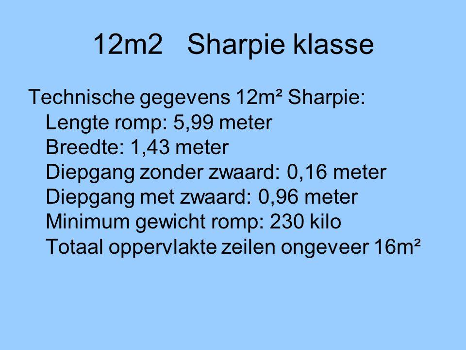 12m2 Sharpie klasse Technische gegevens 12m² Sharpie: Lengte romp: 5,99 meter Breedte: 1,43 meter Diepgang zonder zwaard: 0,16 meter Diepgang met zwaard: 0,96 meter Minimum gewicht romp: 230 kilo Totaal oppervlakte zeilen ongeveer 16m²