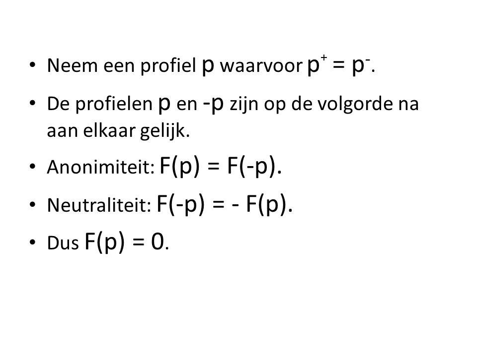 Neem een profiel p waarvoor p + = p -.