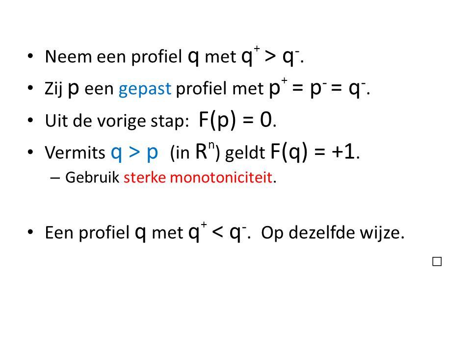 Neem een profiel q met q + > q -. Zij p een gepast profiel met p + = p - = q -.