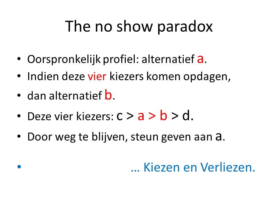 The no show paradox Oorspronkelijk profiel: alternatief a.