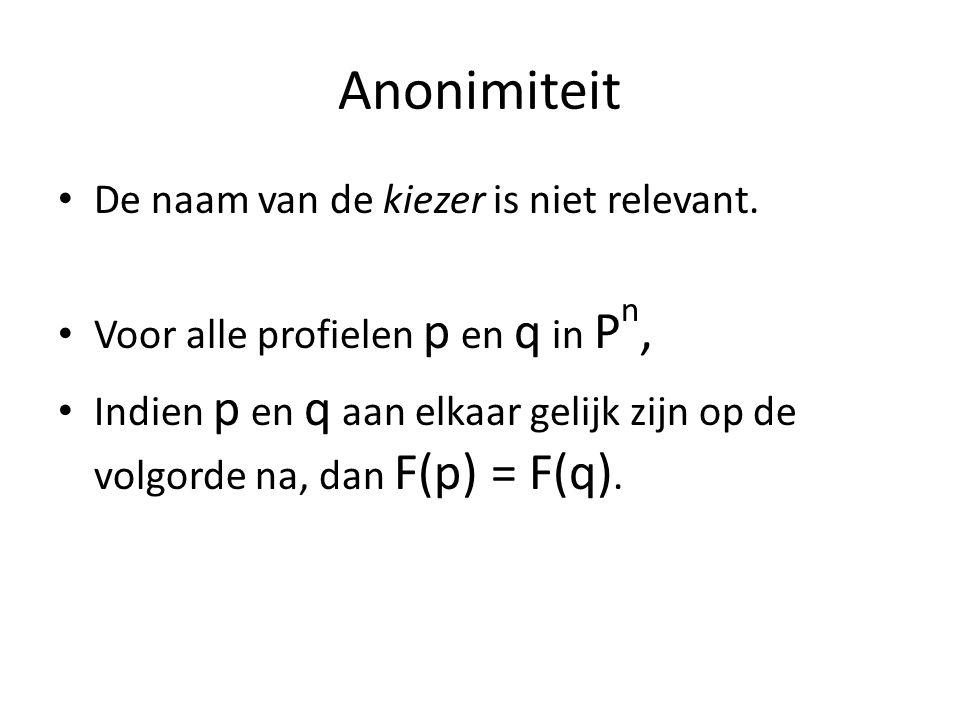Simpson-regel monotoon én Condorcet-consistent # Kiezers : 3 3 5 4, totaal 15.