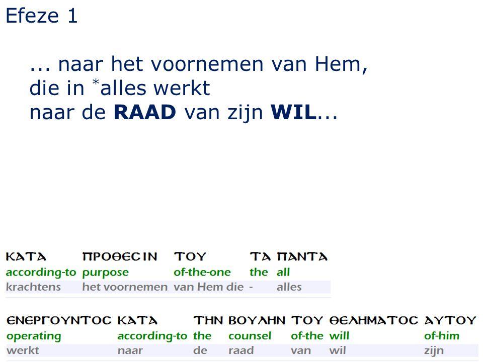 Efeze 1... naar het voornemen van Hem, die in * alles werkt naar de RAAD van zijn WIL...