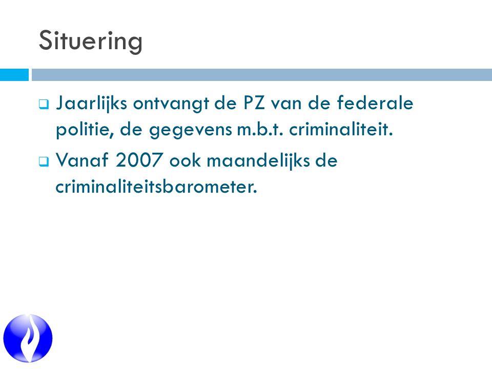 Situering  Jaarlijks ontvangt de PZ van de federale politie, de gegevens m.b.t.