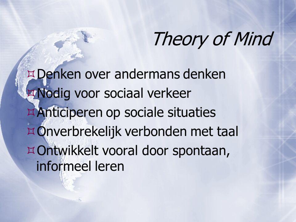 Theory of Mind  Denken over andermans denken  Nodig voor sociaal verkeer  Anticiperen op sociale situaties  Onverbrekelijk verbonden met taal  On
