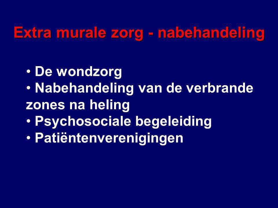 Extra murale zorg - nabehandeling De wondzorg Nabehandeling van de verbrande zones na heling Psychosociale begeleiding Patiëntenverenigingen