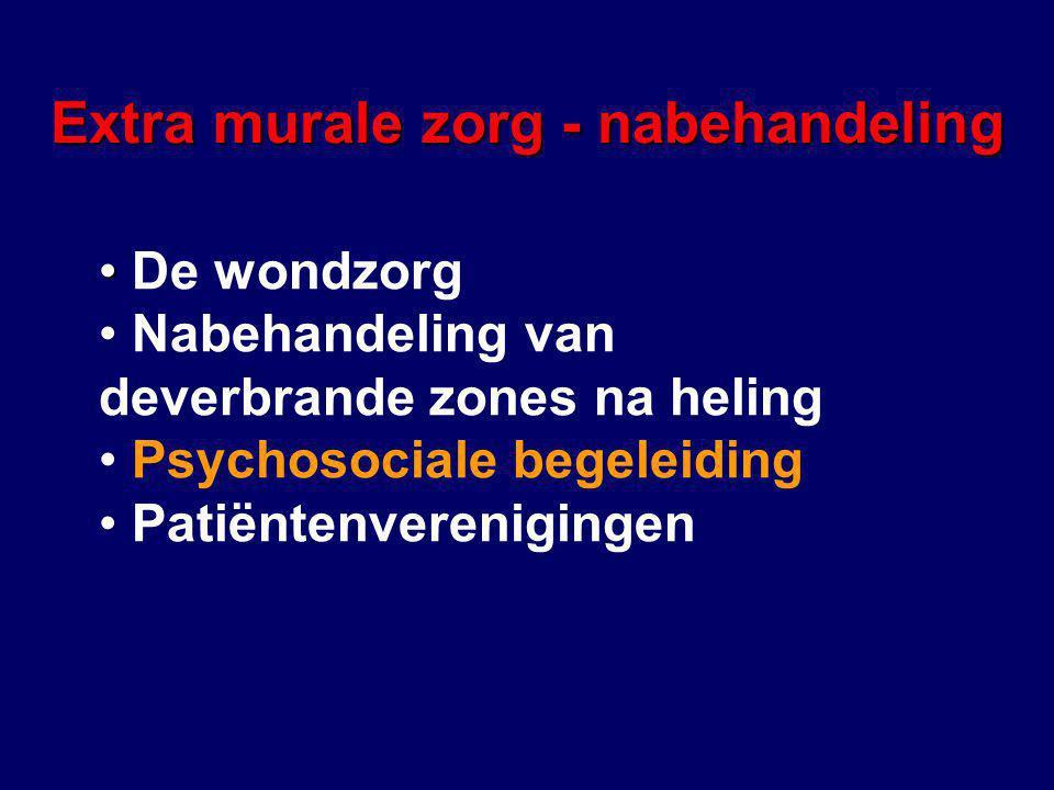 Extra murale zorg - nabehandeling De wondzorg Nabehandeling van deverbrande zones na heling Psychosociale begeleiding Patiëntenverenigingen