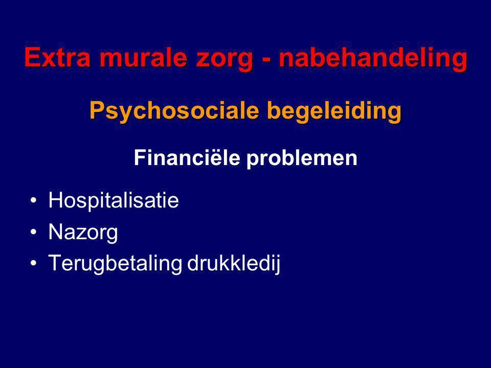 Financiële problemen Extra murale zorg - nabehandeling Psychosociale begeleiding Hospitalisatie Nazorg Terugbetaling drukkledij