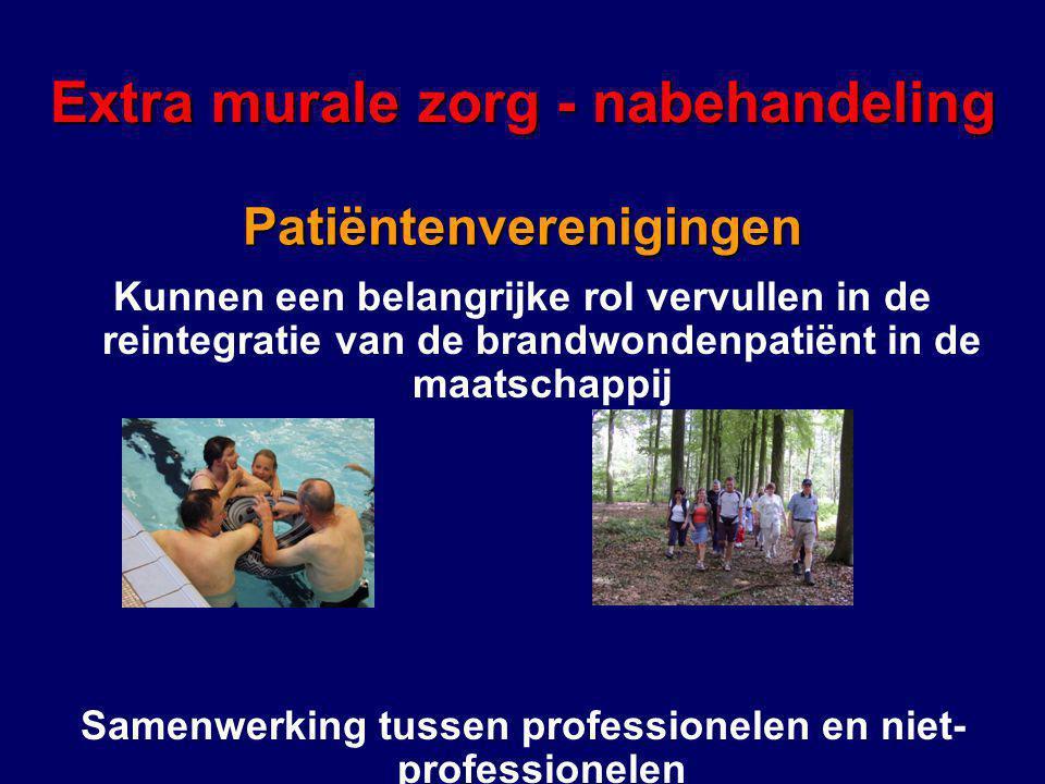 Kunnen een belangrijke rol vervullen in de reintegratie van de brandwondenpatiënt in de maatschappij Samenwerking tussen professionelen en niet- professionelen Extra murale zorg - nabehandeling Patiëntenverenigingen