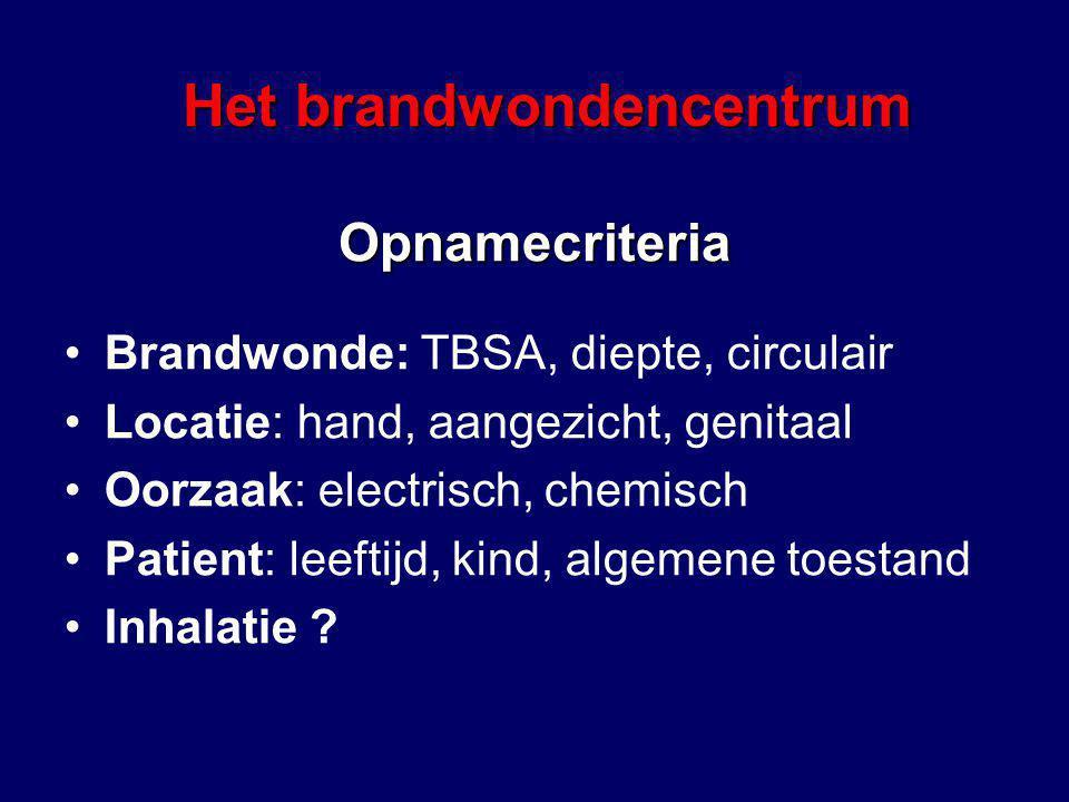 Opnamecriteria Brandwonde: TBSA, diepte, circulair Locatie: hand, aangezicht, genitaal Oorzaak: electrisch, chemisch Patient: leeftijd, kind, algemene toestand Inhalatie .
