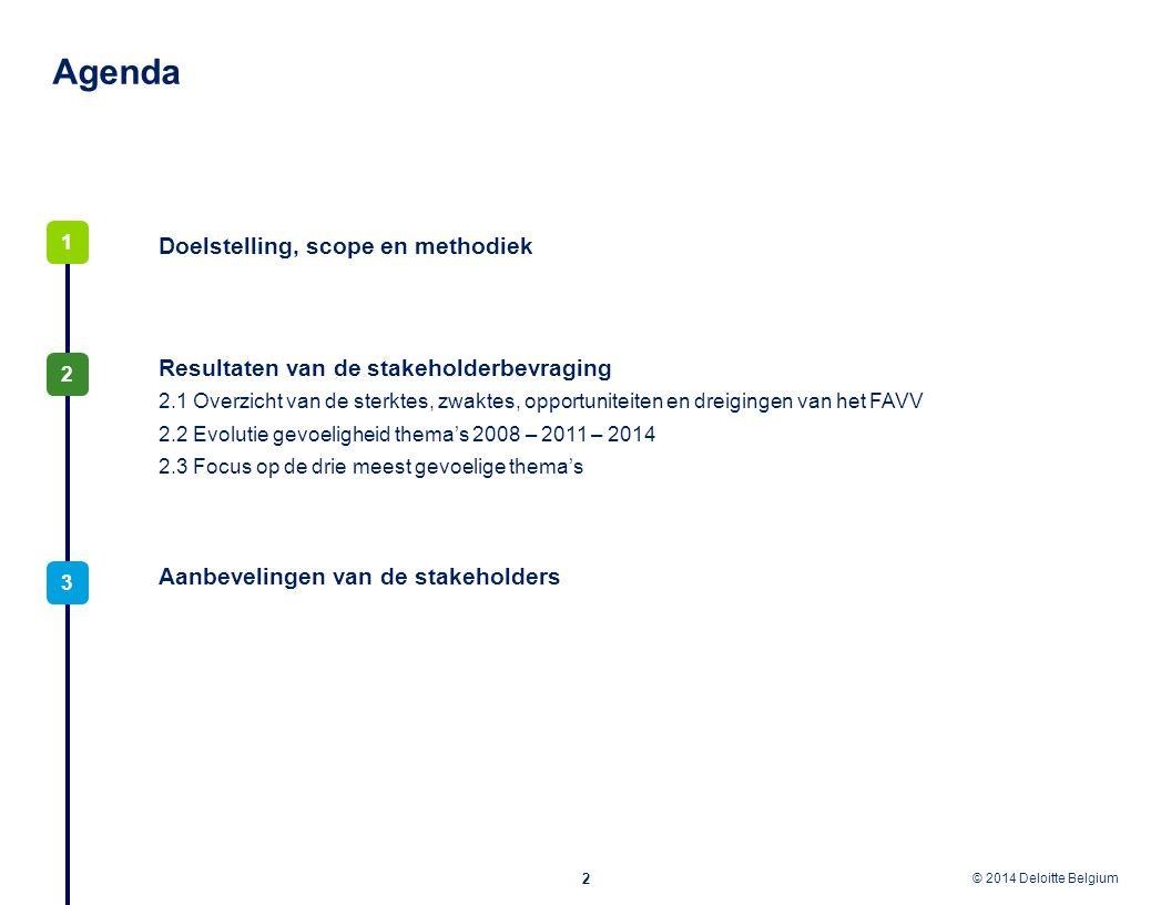 © 2012 Deloitte Belgium © 2014 Deloitte Belgium Agenda 2 3 2 Doelstelling, scope en methodiek 1 Resultaten van de stakeholderbevraging 2.1 Overzicht v