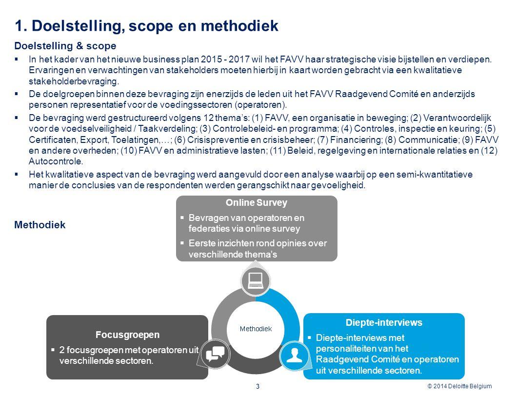 © 2012 Deloitte Belgium © 2014 Deloitte Belgium 1. Doelstelling, scope en methodiek 3 Doelstelling & scope  In het kader van het nieuwe business plan
