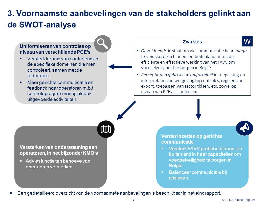 © 2012 Deloitte Belgium © 2014 Deloitte Belgium 7 Zwaktes  Onvoldoende in staat om via communicatie haar imago te valoriseren in binnen- en buitenlan