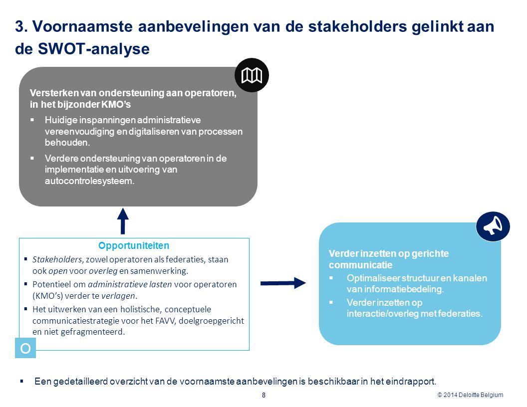 © 2012 Deloitte Belgium © 2014 Deloitte Belgium 8 Opportuniteiten  Stakeholders, zowel operatoren als federaties, staan ook open voor overleg en same