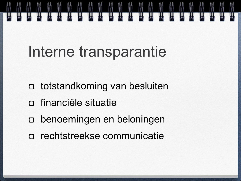 Interne transparantie totstandkoming van besluiten financiële situatie benoemingen en beloningen rechtstreekse communicatie