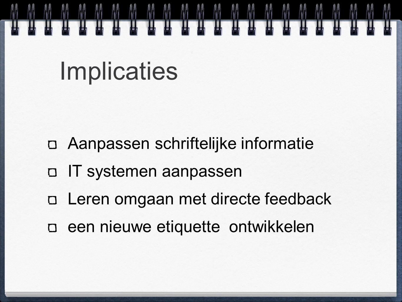 Implicaties Aanpassen schriftelijke informatie IT systemen aanpassen Leren omgaan met directe feedback een nieuwe etiquette ontwikkelen