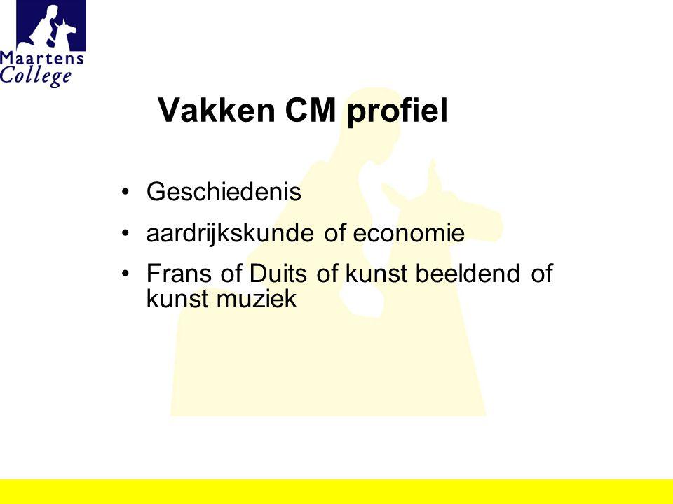 Vakken CM profiel Geschiedenis aardrijkskunde of economie Frans of Duits of kunst beeldend of kunst muziek