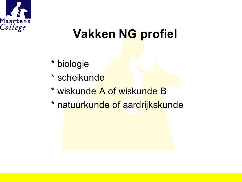 Vakken NG profiel * biologie * scheikunde * wiskunde A of wiskunde B * natuurkunde of aardrijkskunde
