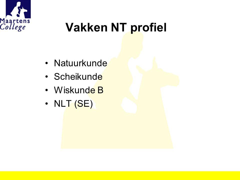Vakken NT profiel Natuurkunde Scheikunde Wiskunde B NLT (SE)