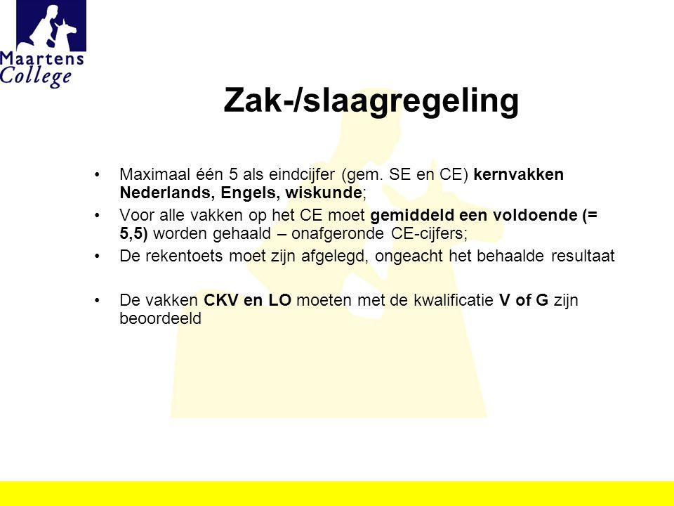 Zak-/slaagregeling Maximaal één 5 als eindcijfer (gem. SE en CE) kernvakken Nederlands, Engels, wiskunde; Voor alle vakken op het CE moet gemiddeld ee