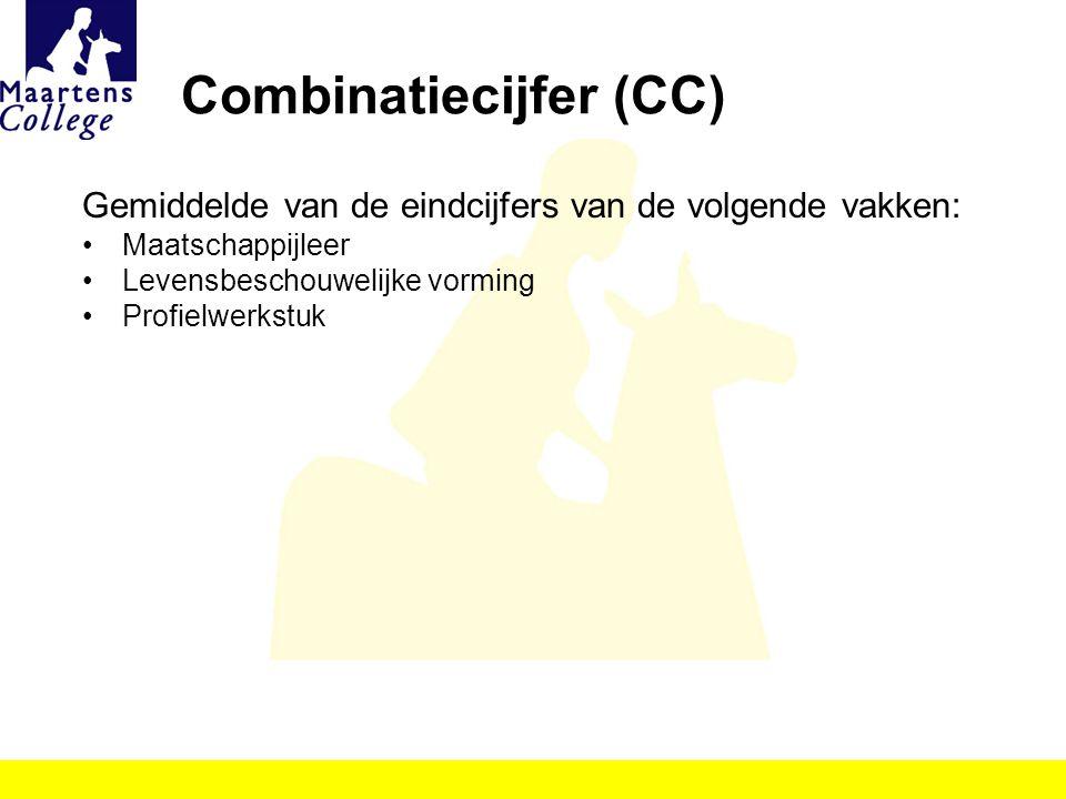 Combinatiecijfer (CC) Gemiddelde van de eindcijfers van de volgende vakken: Maatschappijleer Levensbeschouwelijke vorming Profielwerkstuk