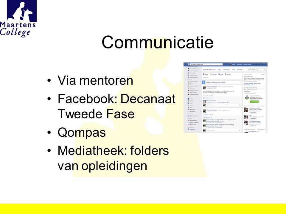 Communicatie Via mentoren Facebook: Decanaat Tweede Fase Qompas Mediatheek: folders van opleidingen