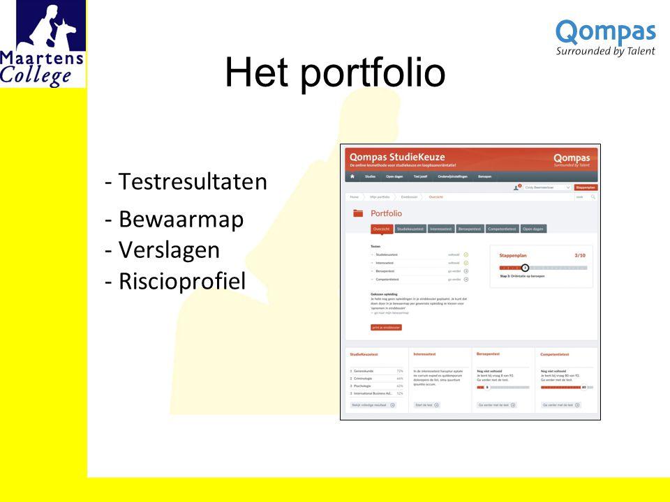 Het portfolio - Testresultaten - Bewaarmap - Verslagen - Riscioprofiel