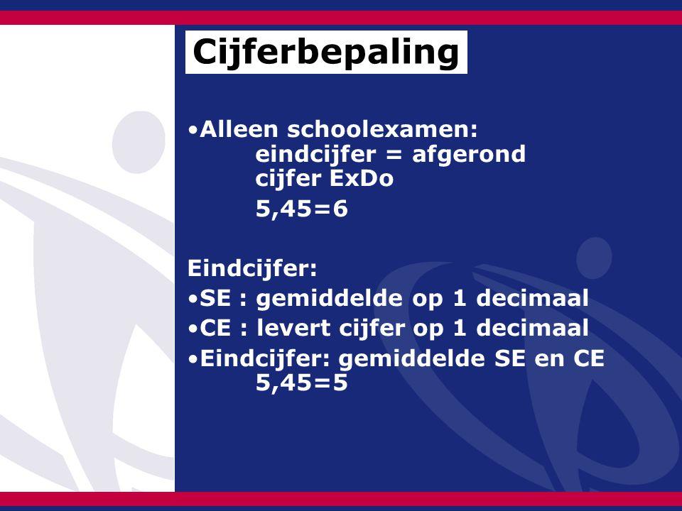 Alleen schoolexamen: eindcijfer = afgerond cijfer ExDo 5,45=6 Eindcijfer: SE : gemiddelde op 1 decimaal CE : levert cijfer op 1 decimaal Eindcijfer: gemiddelde SE en CE 5,45=5 Cijferbepaling