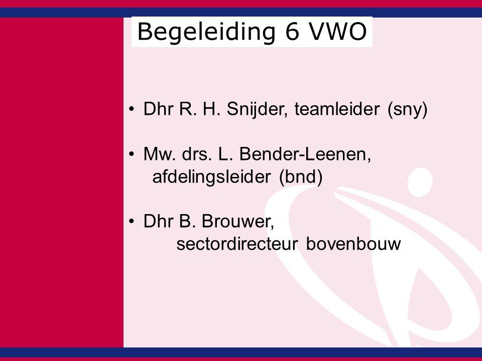 Dhr R. H. Snijder, teamleider (sny) Mw. drs. L. Bender-Leenen, afdelingsleider (bnd) Dhr B. Brouwer, sectordirecteur bovenbouw Begeleiding 6 VWO