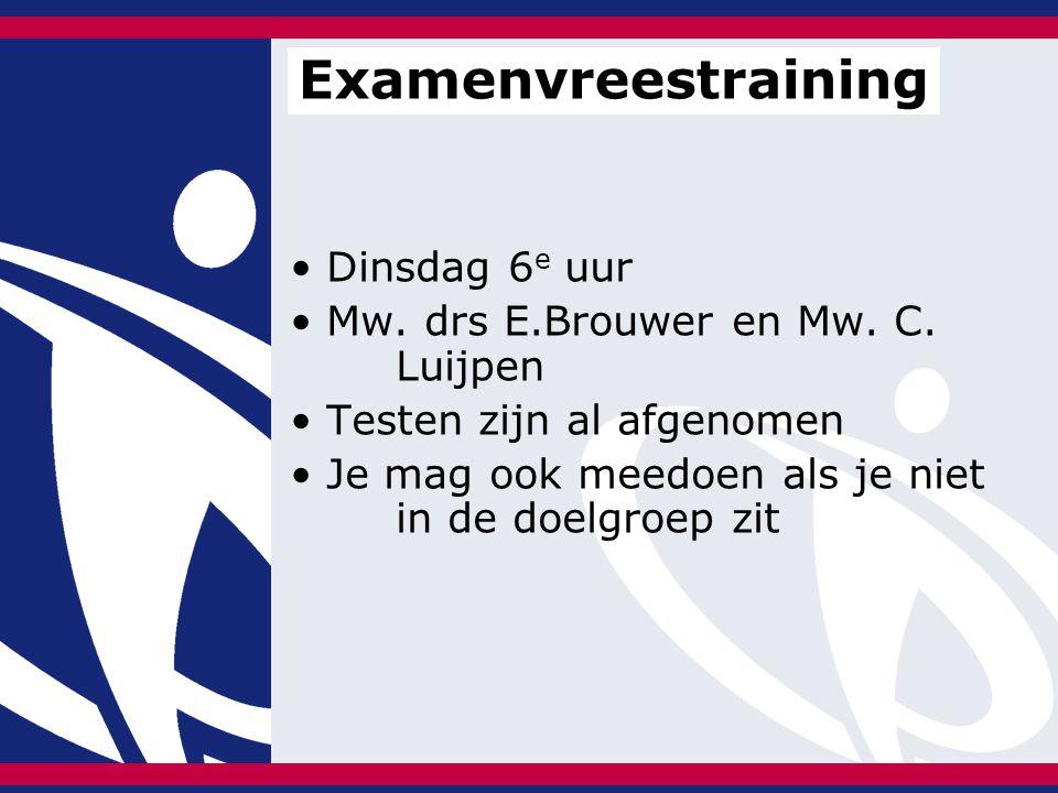 Dinsdag 6 e uur Mw. drs E.Brouwer en Mw. C. Luijpen Testen zijn al afgenomen Je mag ook meedoen als je niet in de doelgroep zit Examenvreestraining