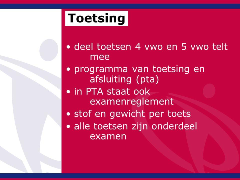 deel toetsen 4 vwo en 5 vwo telt mee programma van toetsing en afsluiting (pta) in PTA staat ook examenreglement stof en gewicht per toets alle toetsen zijn onderdeel examen Toetsing