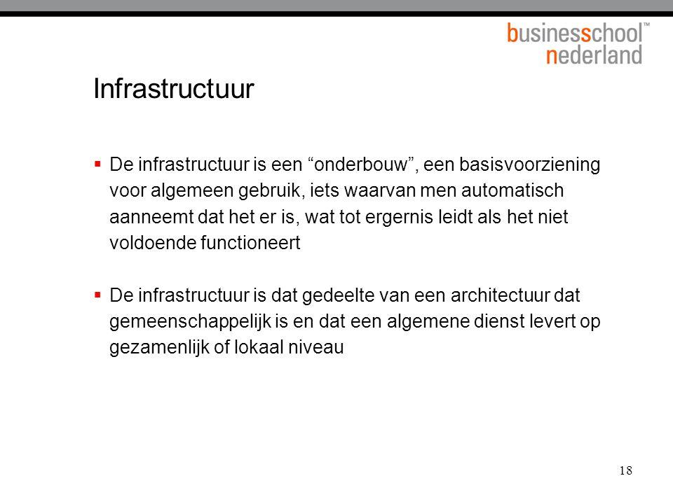 """18 Infrastructuur  De infrastructuur is een """"onderbouw"""", een basisvoorziening voor algemeen gebruik, iets waarvan men automatisch aanneemt dat het er"""