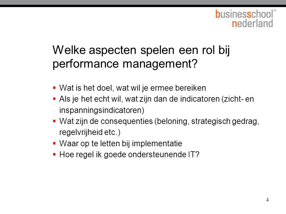 4 Welke aspecten spelen een rol bij performance management?  Wat is het doel, wat wil je ermee bereiken  Als je het echt wil, wat zijn dan de indica