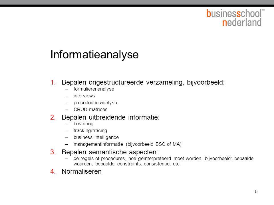 6 Informatieanalyse 1.Bepalen ongestructureerde verzameling, bijvoorbeeld: –formulierenanalyse –interviews –precedentie-analyse –CRUD-matrices 2.Bepal