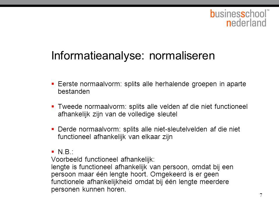 7 Informatieanalyse: normaliseren  Eerste normaalvorm: splits alle herhalende groepen in aparte bestanden  Tweede normaalvorm: splits alle velden af