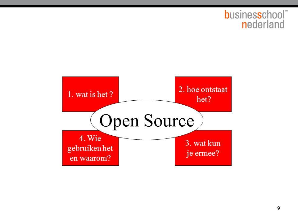 9 1. wat is het ? 2. hoe ontstaat het? 3. wat kun je ermee? 4. Wie gebruiken het en waarom? Open Source