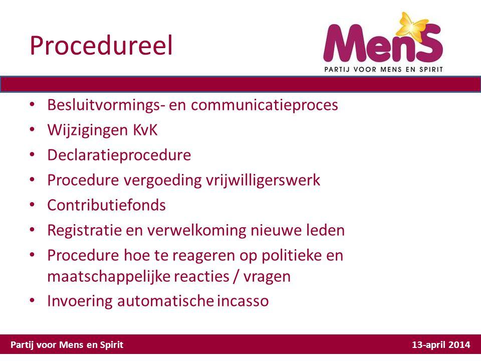 Procedureel Besluitvormings- en communicatieproces Wijzigingen KvK Declaratieprocedure Procedure vergoeding vrijwilligerswerk Contributiefonds Registr