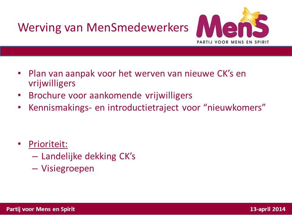Werving van MenSmedewerkers Plan van aanpak voor het werven van nieuwe CK's en vrijwilligers Brochure voor aankomende vrijwilligers Kennismakings- en