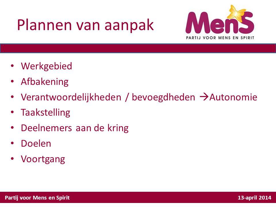 Plannen van aanpak Partij voor Mens en Spirit 13-april 2014 Werkgebied Afbakening Verantwoordelijkheden / bevoegdheden  Autonomie Taakstelling Deelne