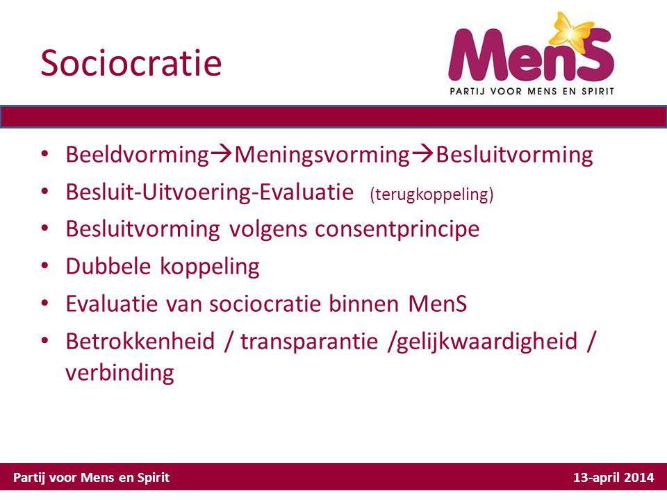 Sociocratie Beeldvorming  Meningsvorming  Besluitvorming Besluit-Uitvoering-Evaluatie (terugkoppeling) Besluitvorming volgens consentprincipe Dubbel