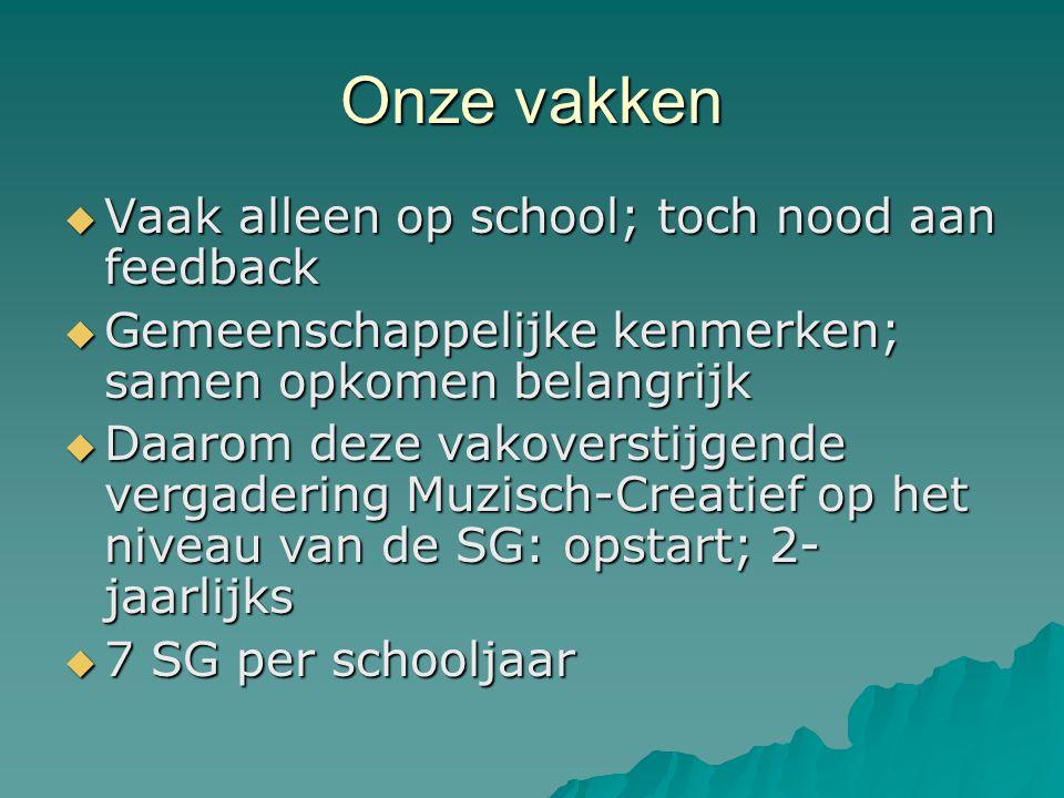 Onze vakken  Vaak alleen op school; toch nood aan feedback  Gemeenschappelijke kenmerken; samen opkomen belangrijk  Daarom deze vakoverstijgende ve