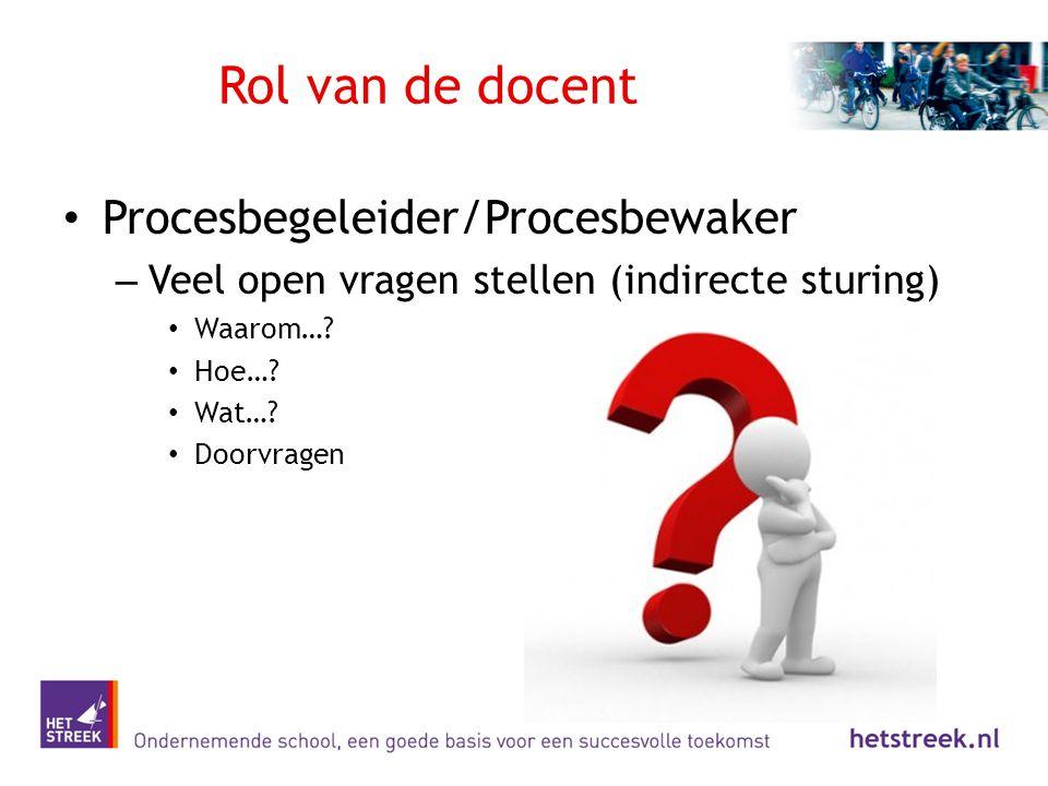 Rol van de docent Procesbegeleider/Procesbewaker – Veel open vragen stellen (indirecte sturing) Waarom…? Hoe…? Wat…? Doorvragen