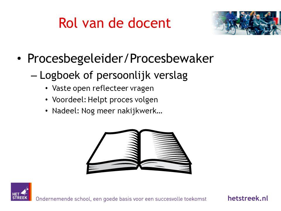 Rol van de docent Procesbegeleider/Procesbewaker – Logboek of persoonlijk verslag Vaste open reflecteer vragen Voordeel: Helpt proces volgen Nadeel: N
