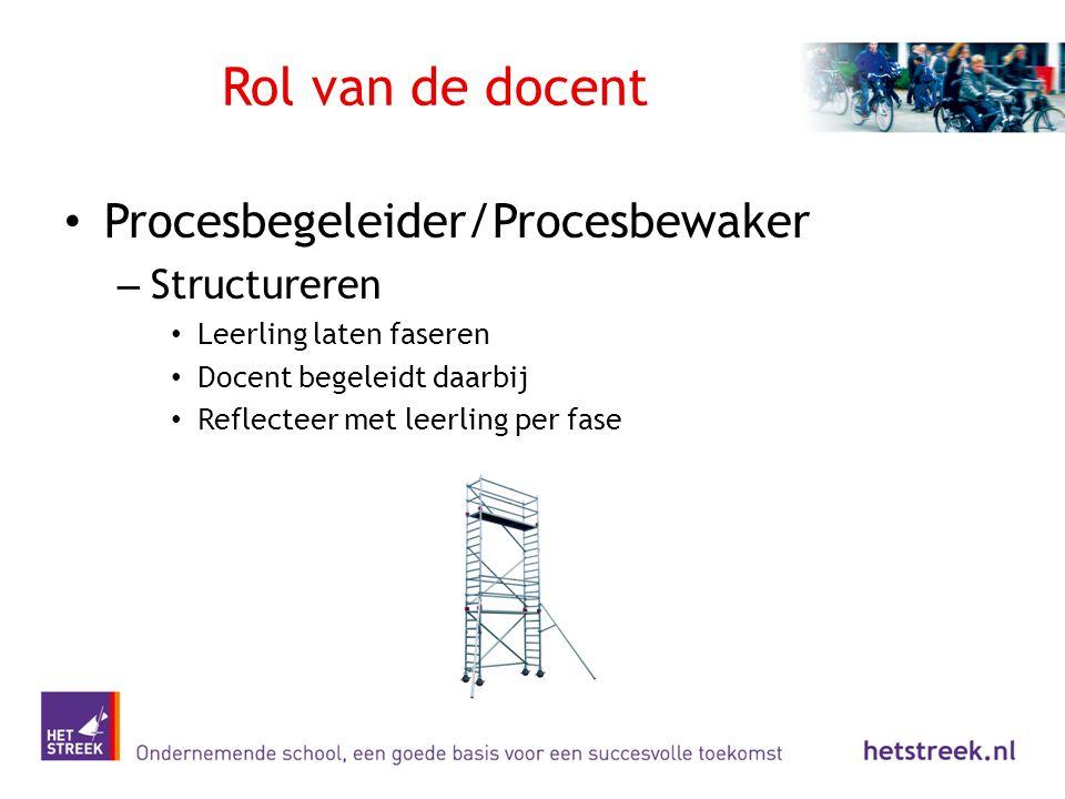 Rol van de docent Procesbegeleider/Procesbewaker – Structureren Leerling laten faseren Docent begeleidt daarbij Reflecteer met leerling per fase