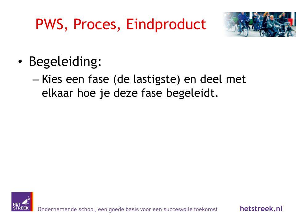 PWS, Proces, Eindproduct Begeleiding: – Kies een fase (de lastigste) en deel met elkaar hoe je deze fase begeleidt.